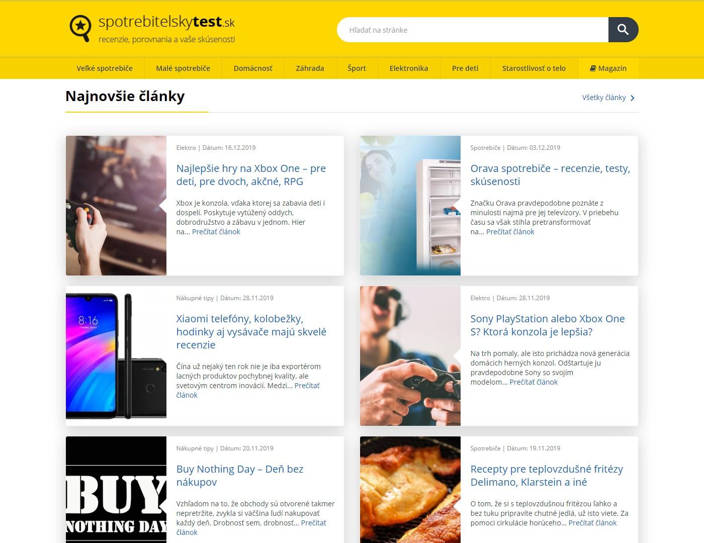 Screenshot webu spotrebitelskytest.sk
