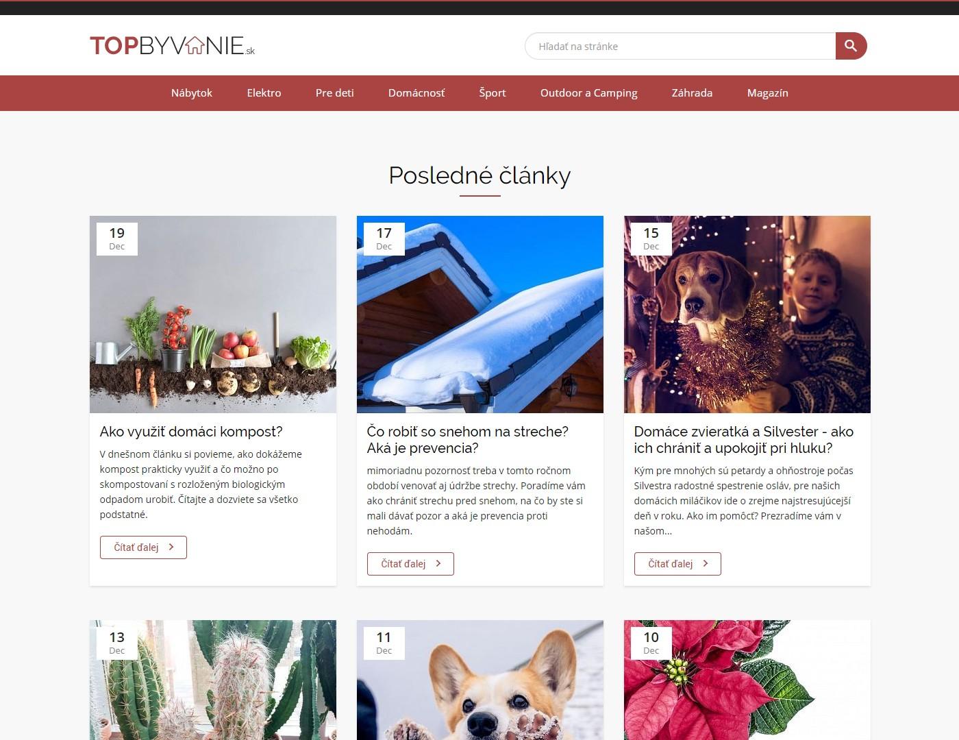 Screenshot magazínu Topbyvanie.sk