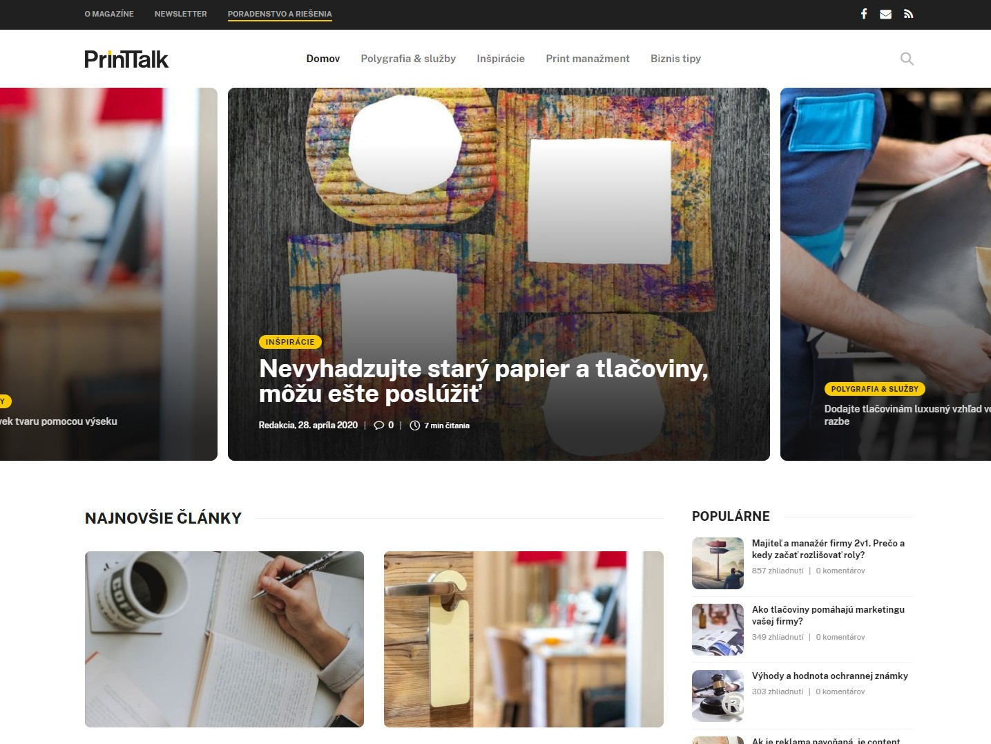 Magazín Printtalk – screenshot